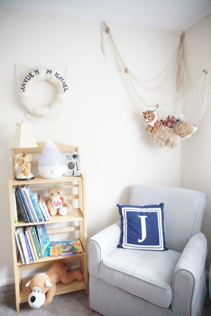 nursery glider, nursery book case, nautical, fish net, initial bookcase
