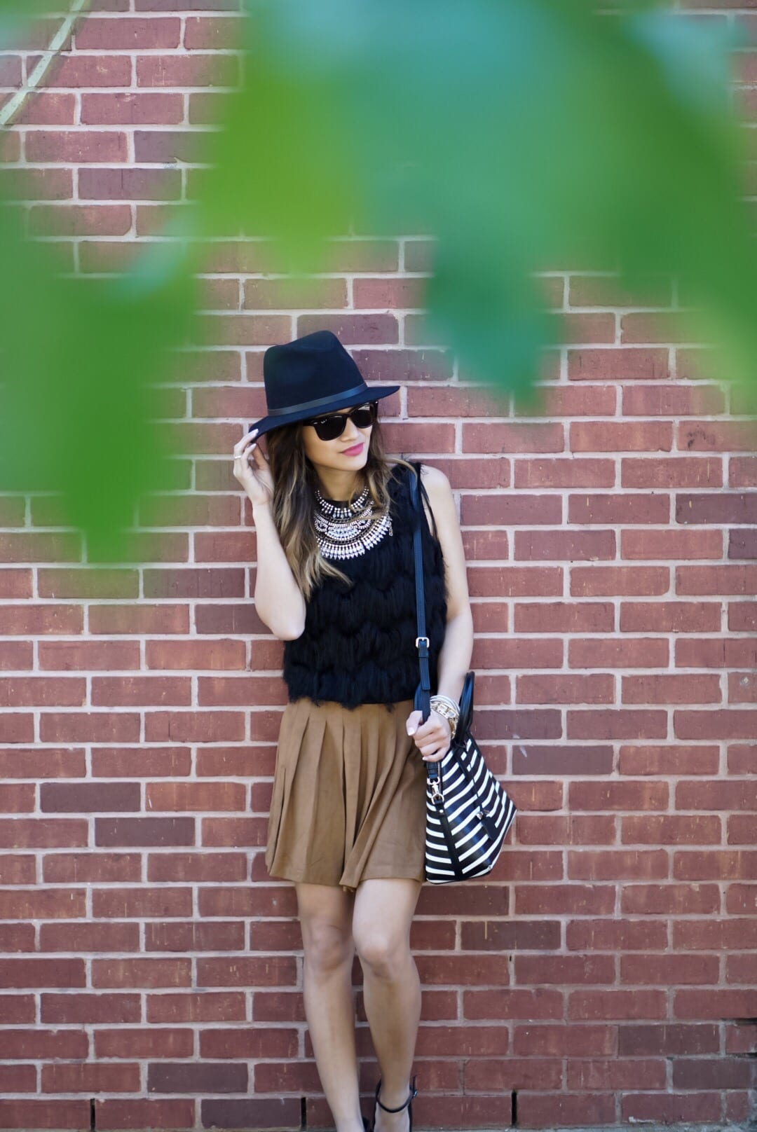 City Chic - Suede Skirt and Fringe Top