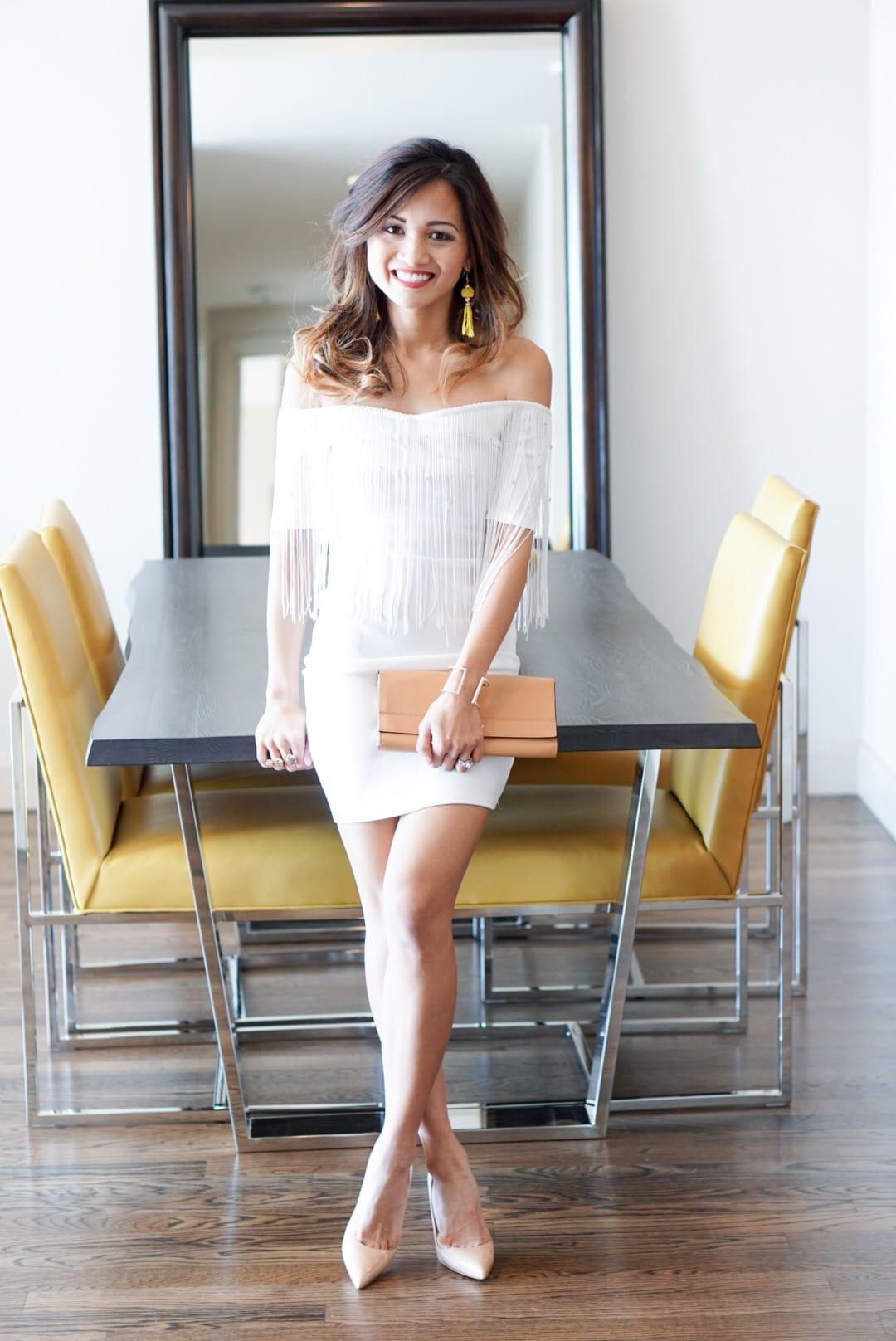 White Tassel Off the Shoulder Dress