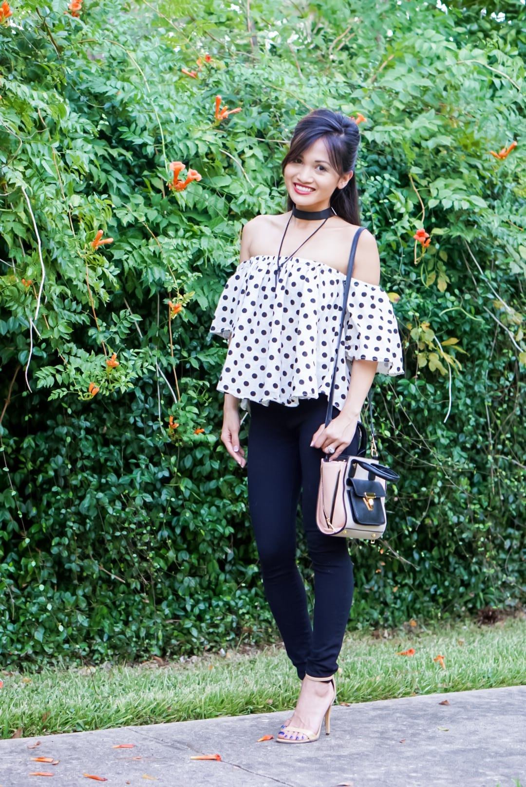 Blogging Photography Q&A, date night outfit, polka dots, off the shoulder tops.