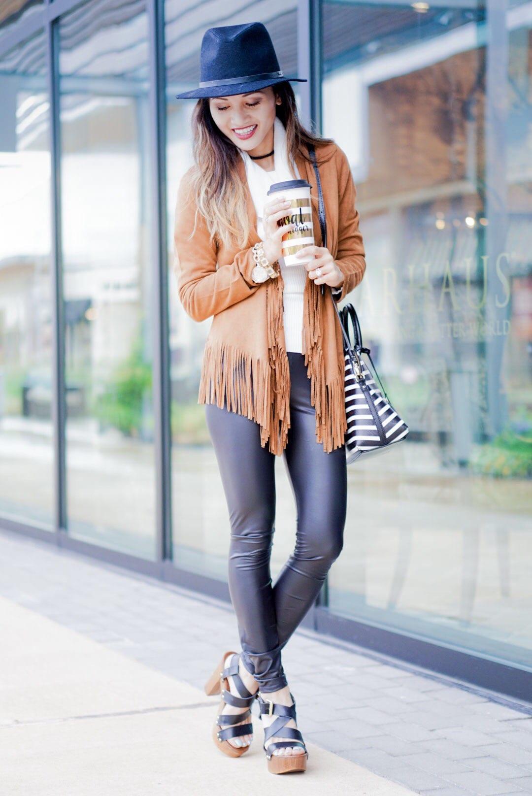 platform heels and pleather leggings