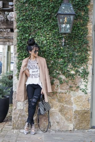 brunch and mimosas, ripped jeans, black jeans, striped kate spade, camel trench coat