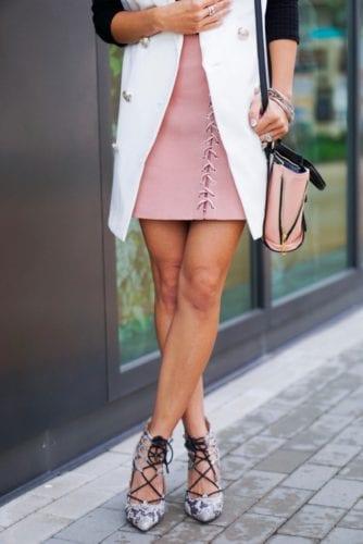blazer vest_lace-up skirt