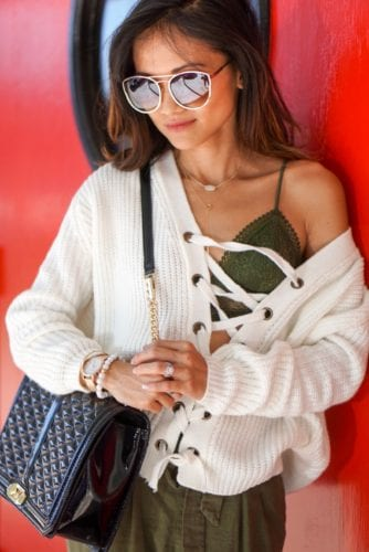 chicwish_ lace up sweater_ victoria secret_bralette_rebecca minkoff