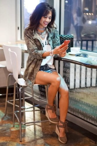 coffee shop, barbazzar, bauble bar, lace up espadrilles, cut off shorts, camo jacket