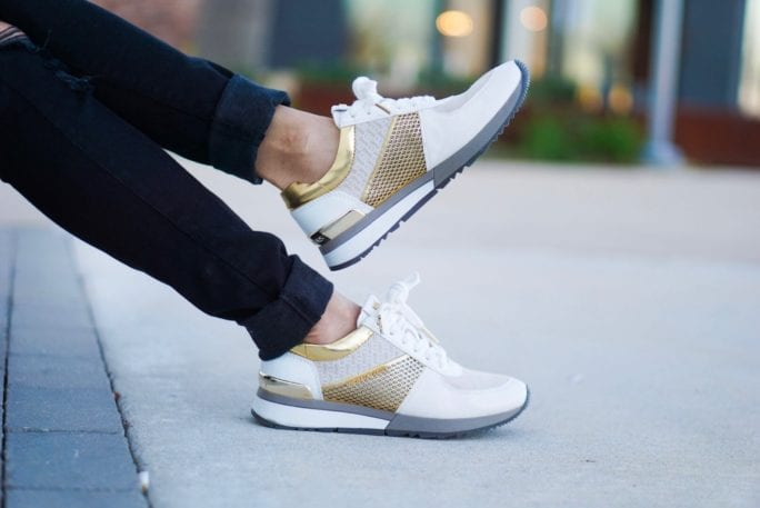 Michael Kors sneakers, gold white sunglasses