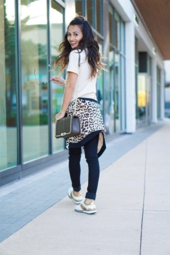 leopard bomber, casual outfit