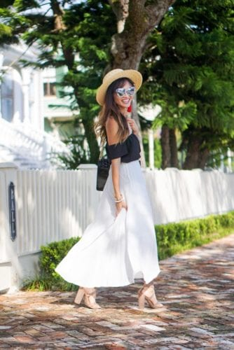 pleated skirt, summer look, off the shoulder, black top, boat hat, lace up heels, quay sunglasses