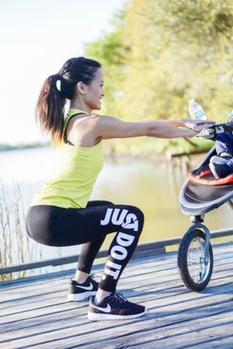 body squats, squats, just do it, exercise outfit , fit mom, fitness gear, mom fitness style, stroller workout