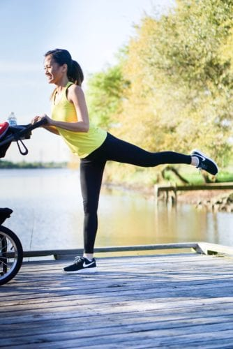 stroller workout, black nike, outdoor workout