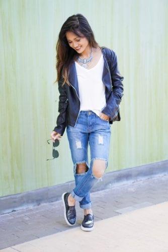 casual look, boyfriend jean outfit