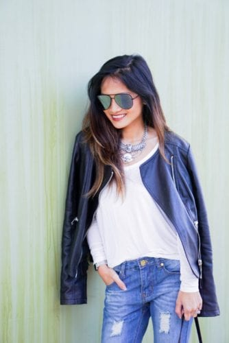 quay sunglasses, leather jacket, casual outfit