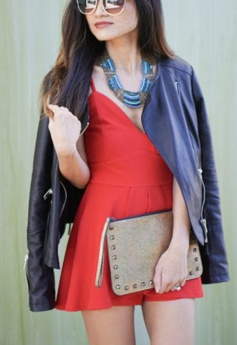 COUNTRY CHIC, RED ROMPER, LEATHER JACKET