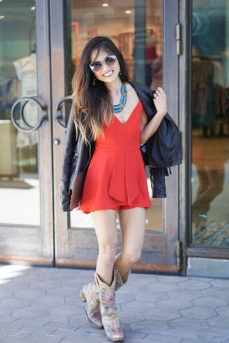 RODEO LOOK, RODEO OUTFIT, COUNTRY OUTFIT, RED ROMPER