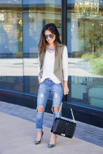 boyfriend jeans, utility vest, love cross body bag, rebecca minkoff, bauble bar
