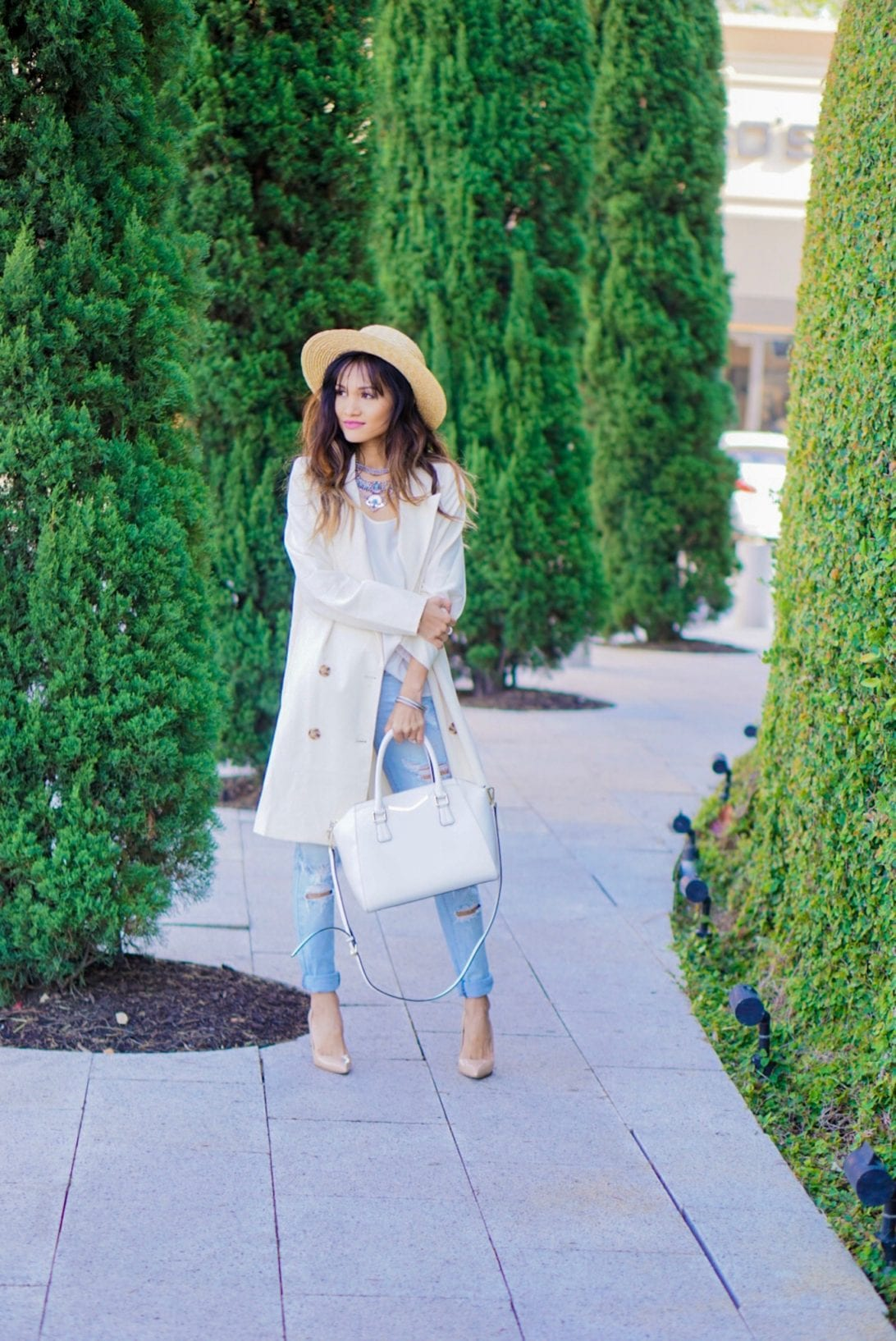 ripped jeans, summer blazer, white satchel, givenchy bag, manolo, nude heels, nude pumps