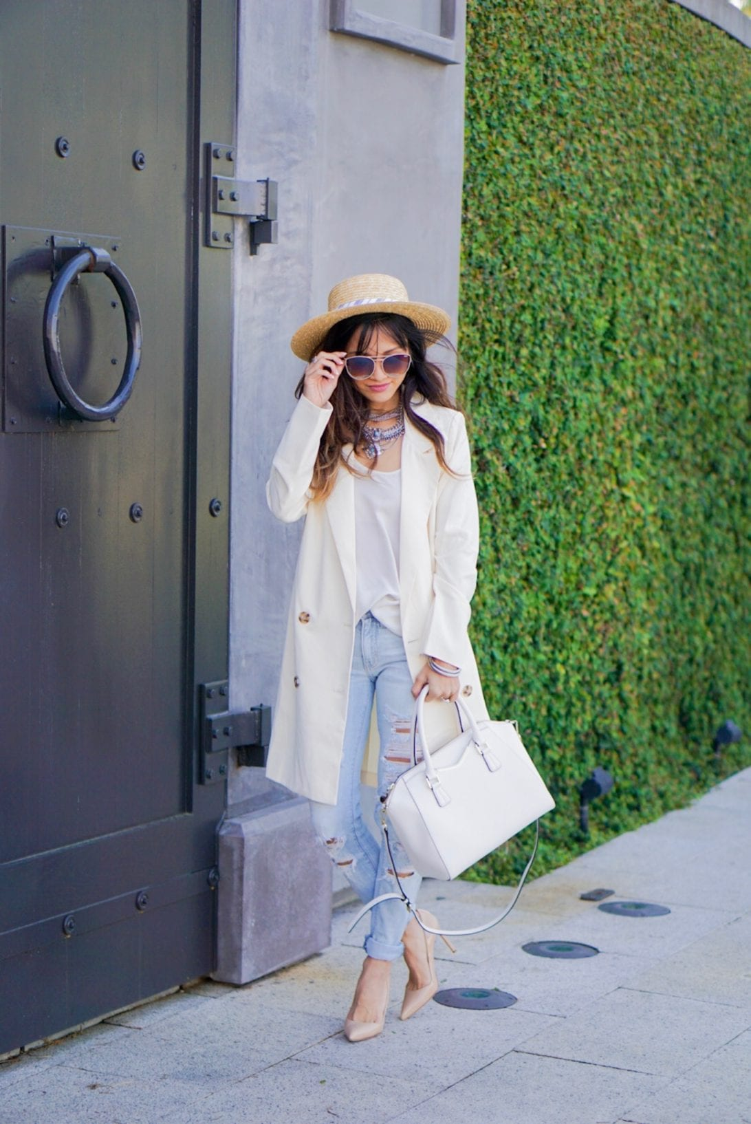 nude heels, destructed jeans, ripped jeans, buckle, chicwish, blazer, boat hat, spring style, summer style, givenchy bag