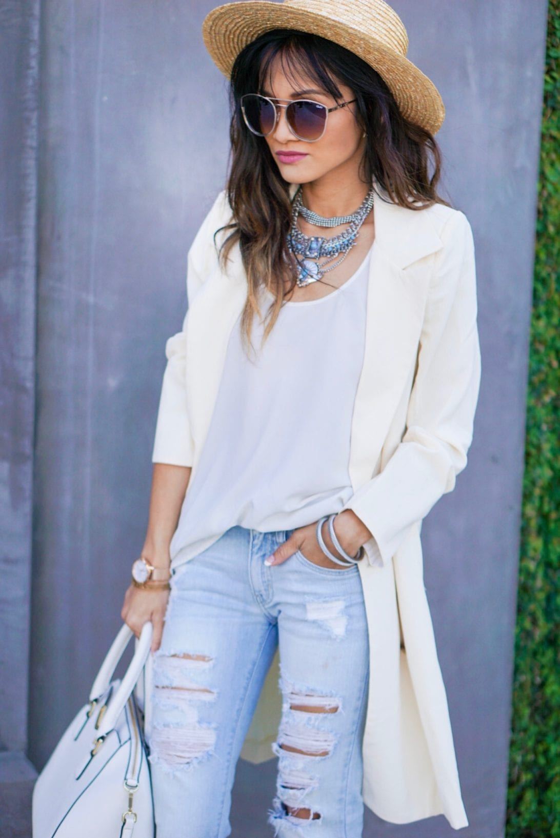 white tank, statement necklace, bauble bar, quay sunglasses, ripped jeans, destructed jeans.