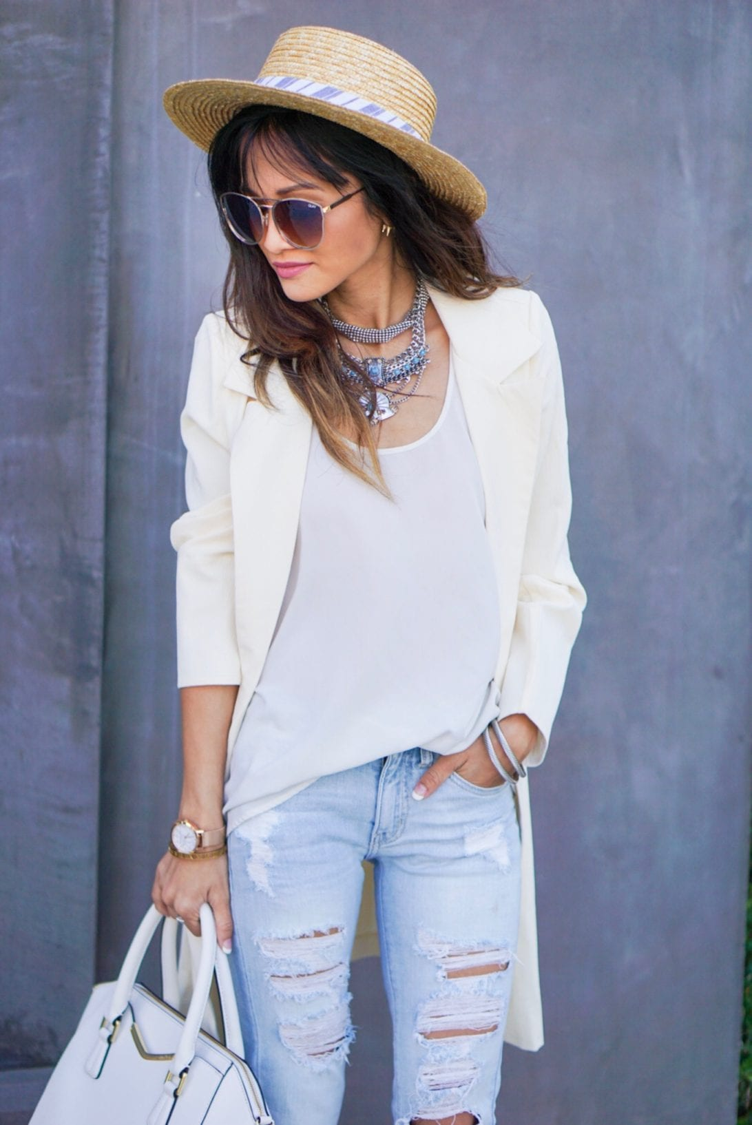 blazer, summer ootd, spring look, destructed jeans, boat hat, statement necklace, nuetral outfit