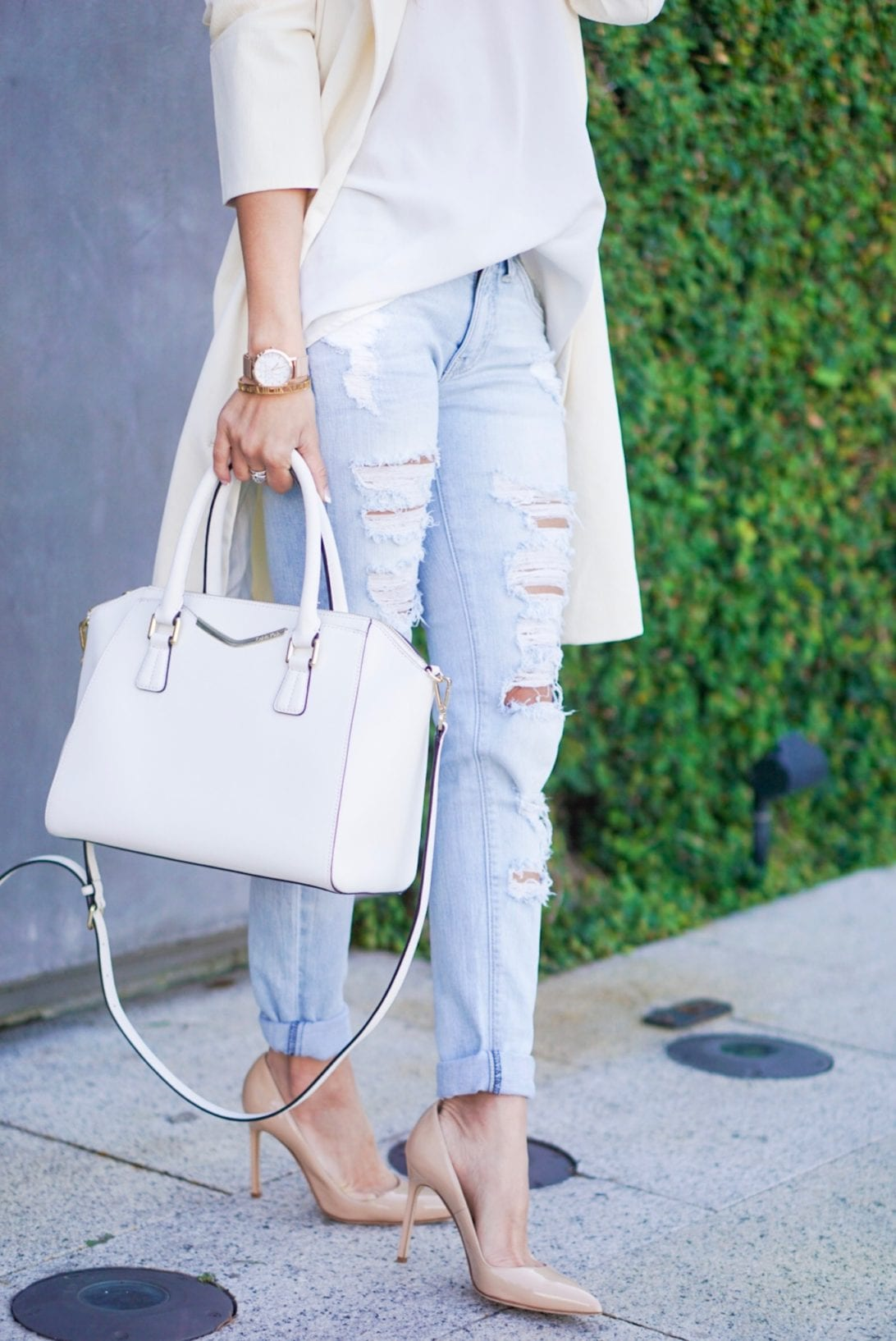 ripped jeans, white satchel, destructed jeans, Manolo Blahnik, nude pumps, christian paul watch