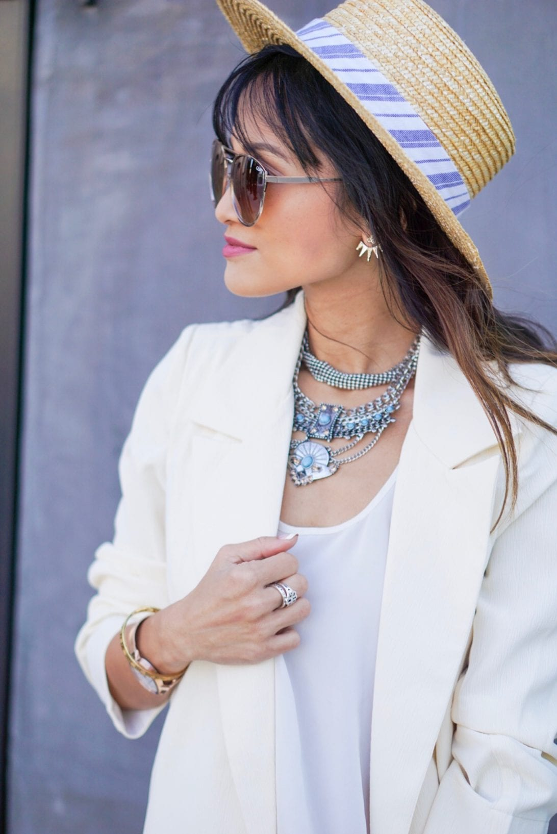 ear jacket, sugar fix, bauble bar, boat hat, blazer, white tank