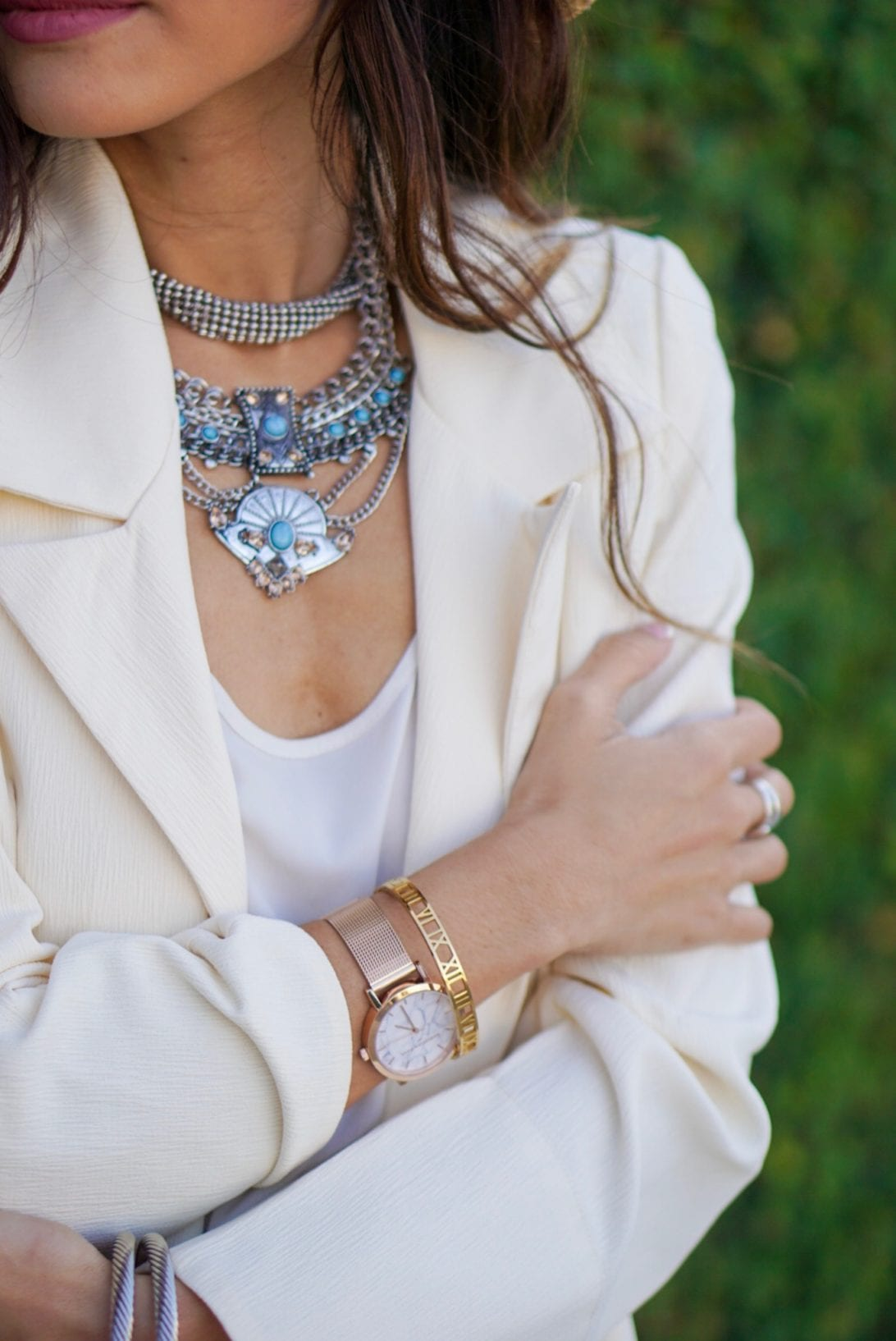 bauble bar, statement necklace, choker, christian paul watch