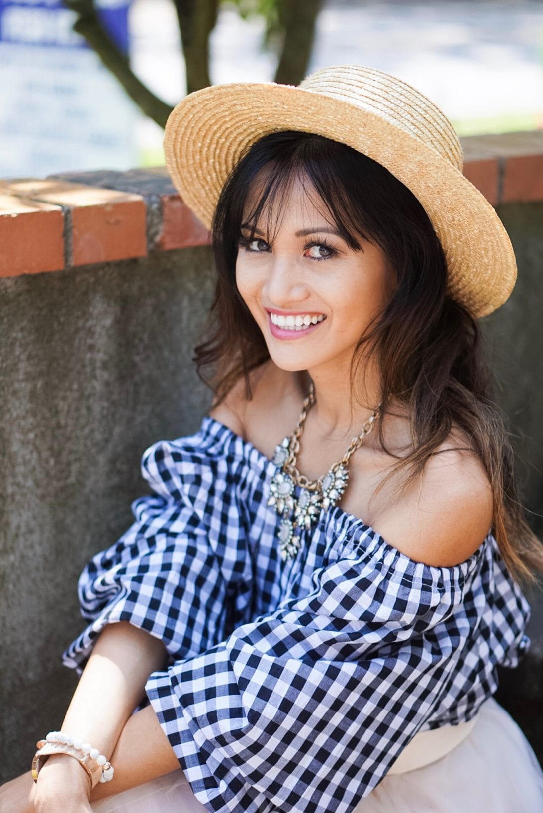 boat hat, straw hat, gingham top, summer top, blue and white,