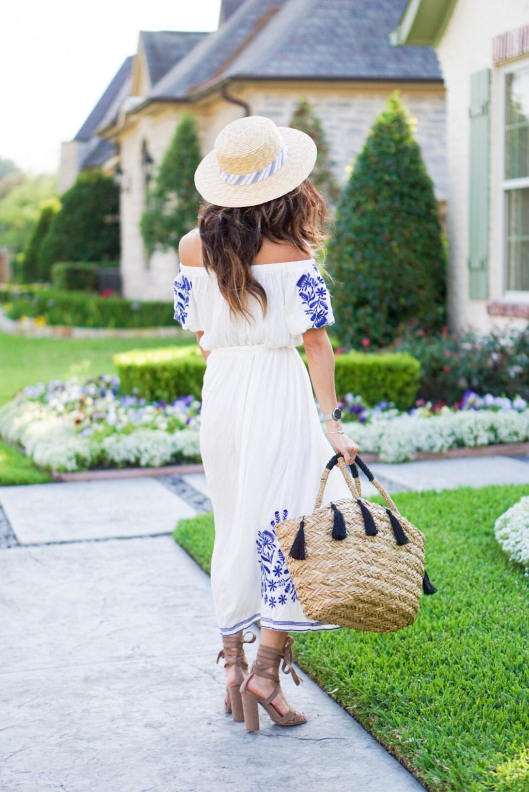 chicwish, embroidered dress, maxi dress, easter dress, beach dress, straw bag, straw hat, boater hat, laceup heels