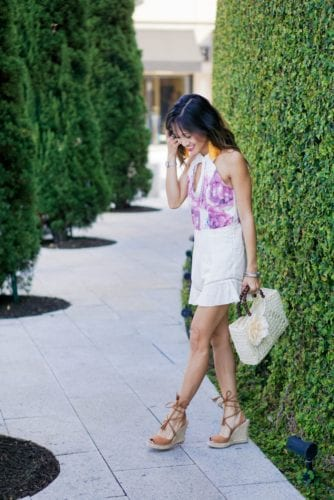 floral keyhole romper, frill romper, summer outfit, straw floral bag