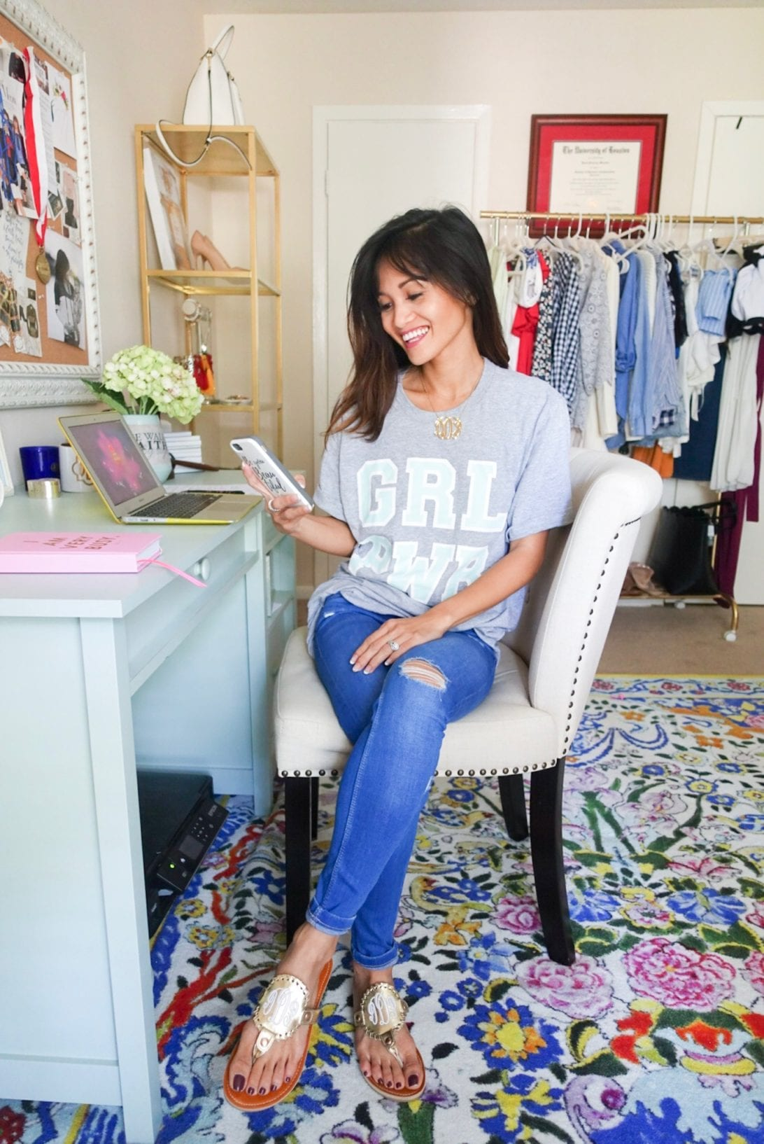 Confidence Tips For the Directions of Your Dreams by Houston blogger Dawn P. Darnell - grl pwr, girl power shirt, home office, blogger office