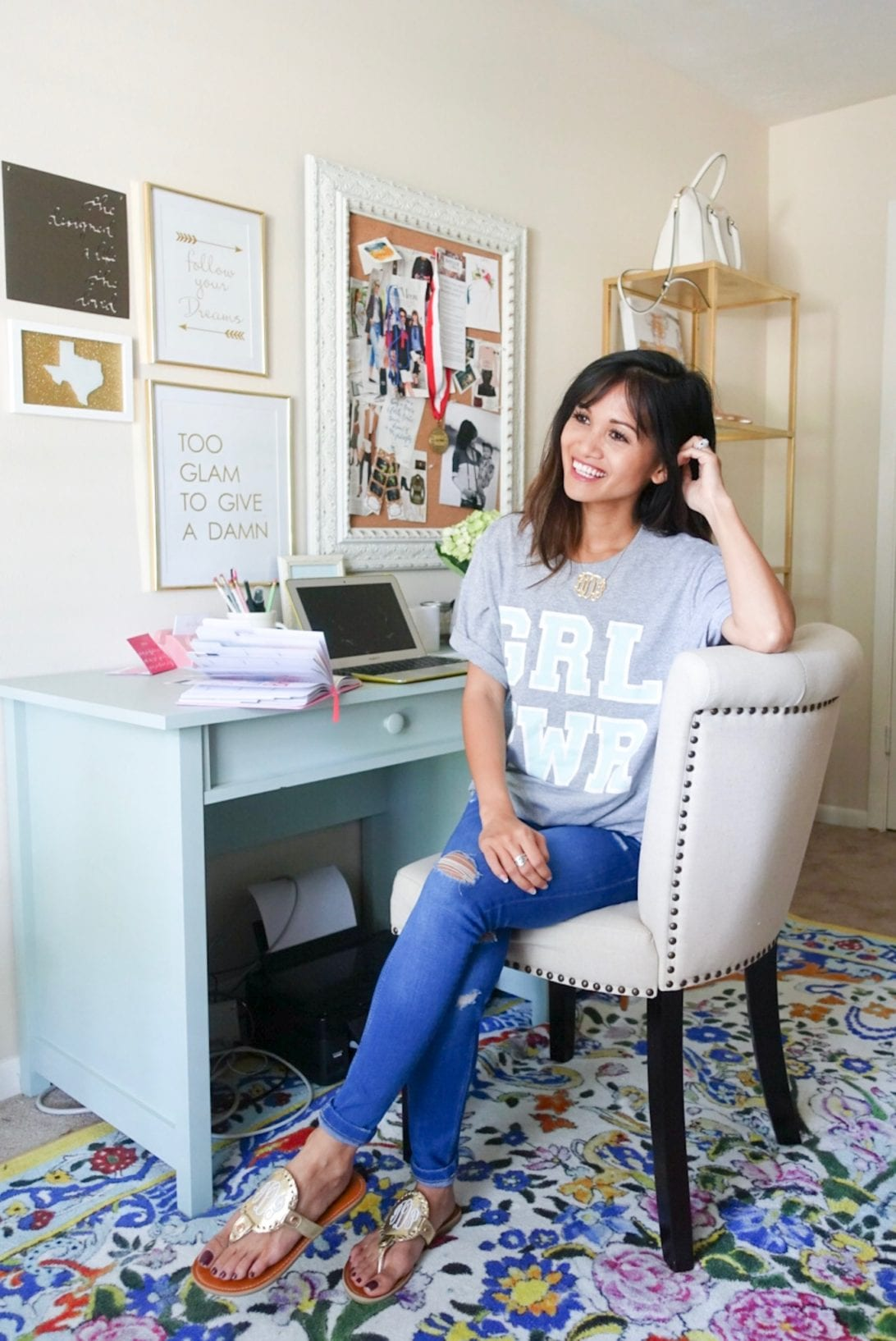 office, home office, girl power, studded office chair, Confidence Tips For the Directions of Your Dreams by Houston blogger Dawn P. Darnell -