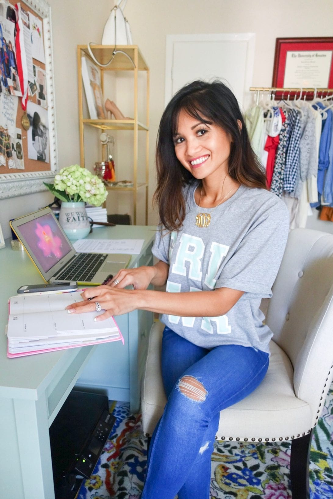 Confidence Tips For the Directions of Your Dreams by Houston blogger Dawn P. Darnell - home office, blogger office, monogrammed necklace