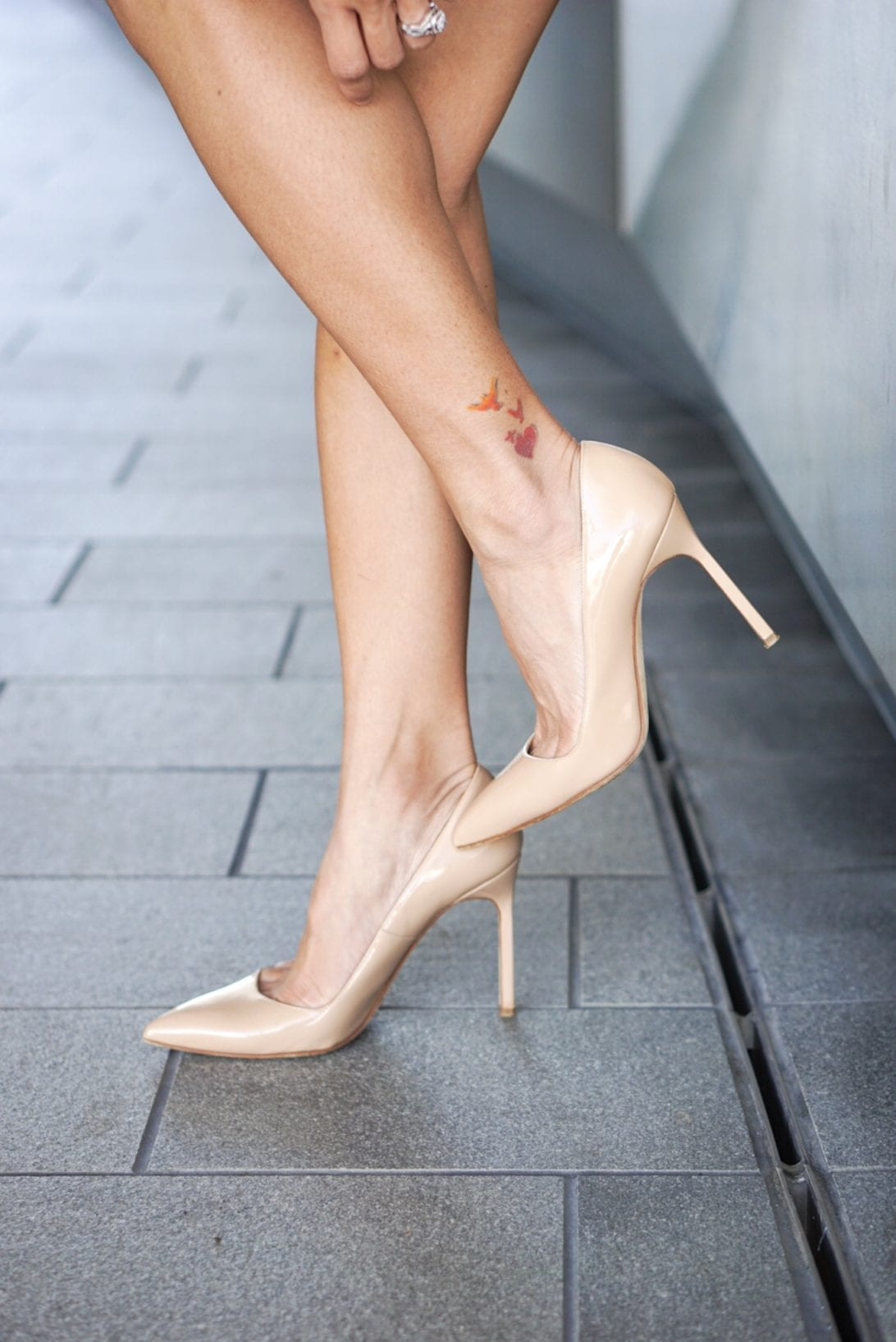 nude pumps, nude heels, designer heels, ankle tattoo