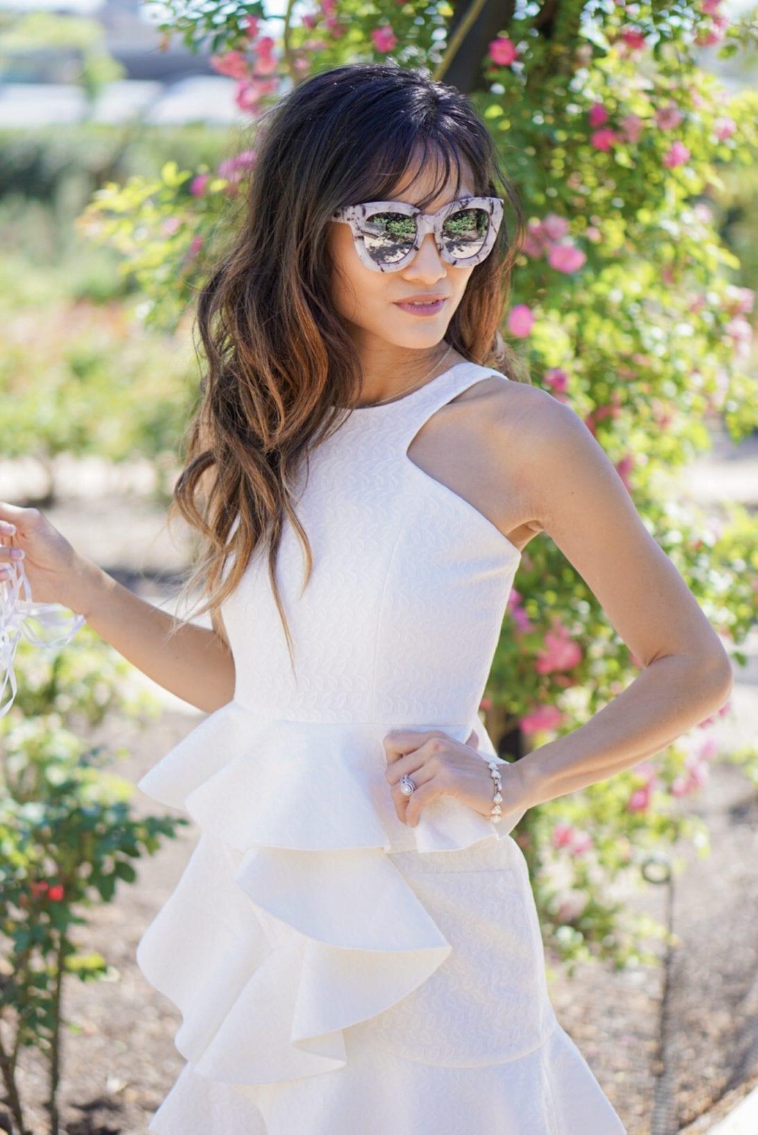 quay sunglasses, chic wish dress, ruffle dress