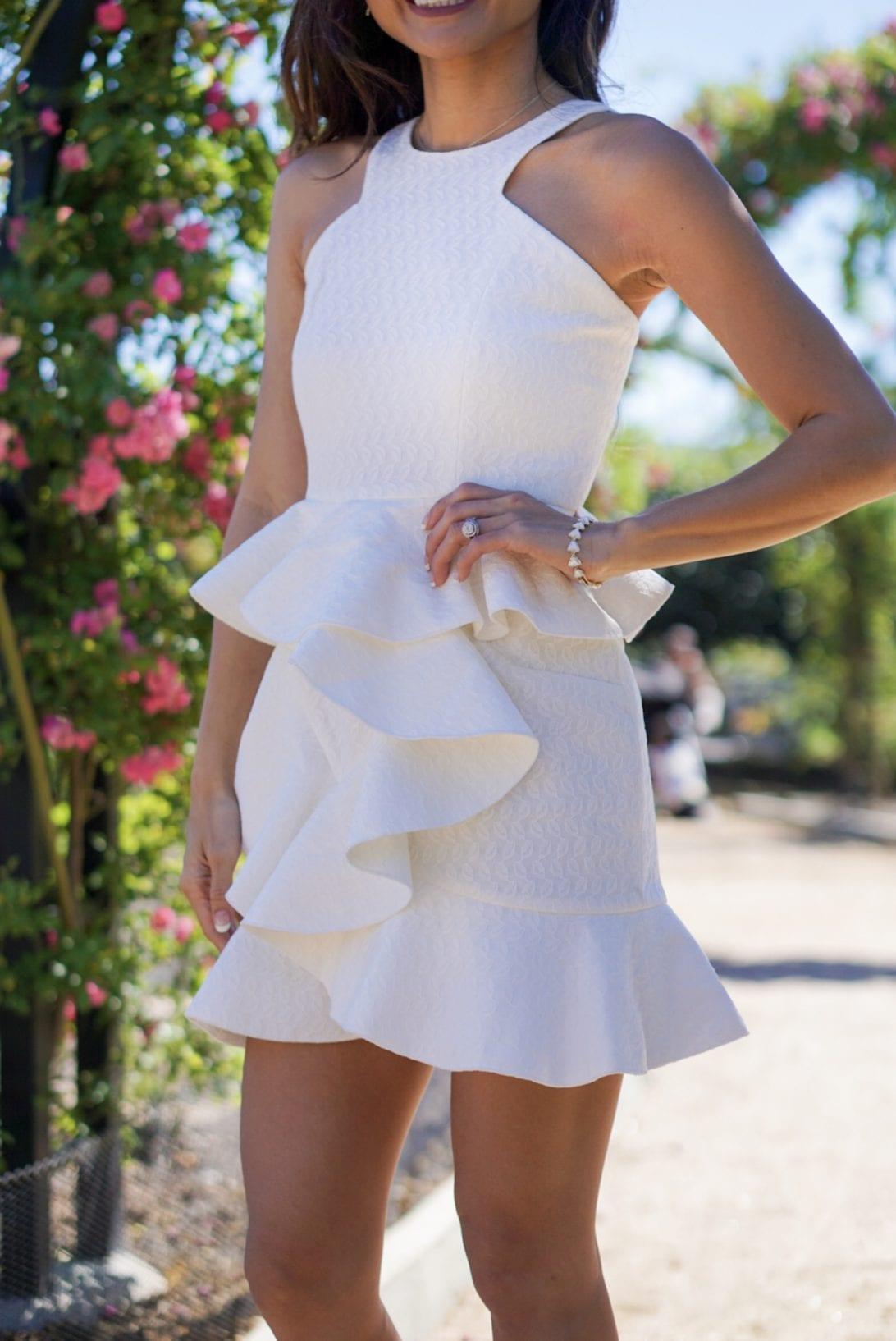 chicwish, little white dress, ruffles