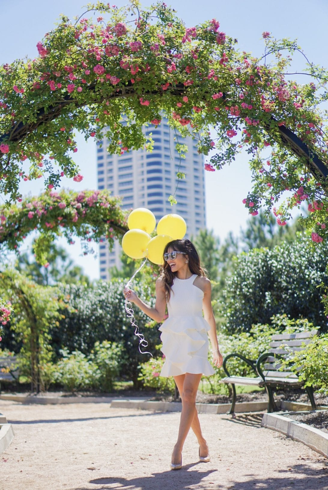 birthday outfit, balloons, park, white ruffle dress