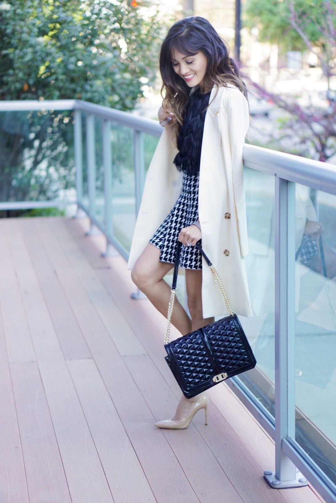 love cross body bag, chic wish blazer, nude heels, blazer, chanel bag