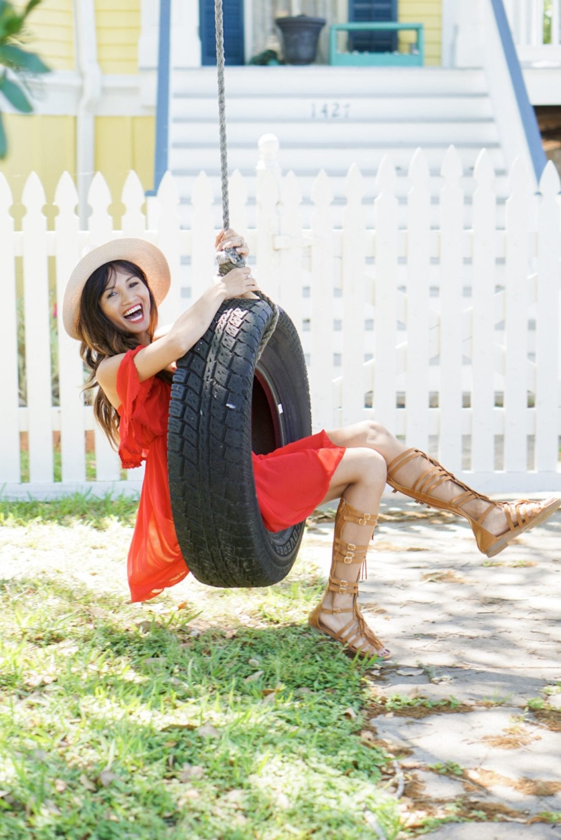 red dress, tire swing, galveston, beach style, summer style. off the shoulder, gladiators