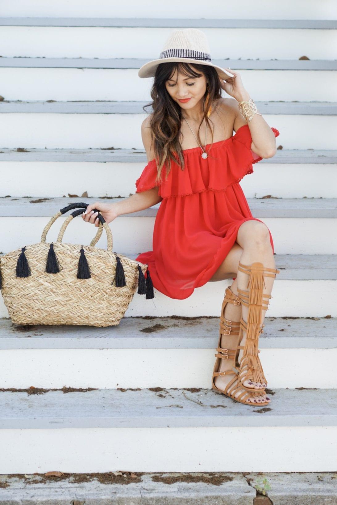 red dress, tire swing, galveston, beach style, summer style. off the shoulder, gladiators, tassel bag