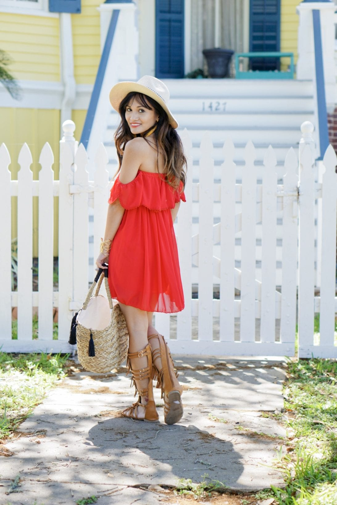 chicwish, red dress, off the shoulder dress