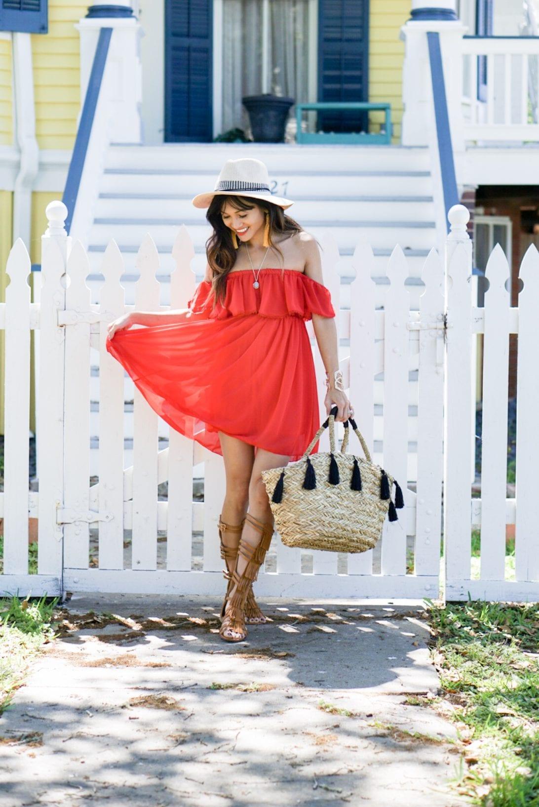 red dress, tire swing, galveston, beach style, summer style. off the shoulder, gladiators, tassel purse, tassel earrings