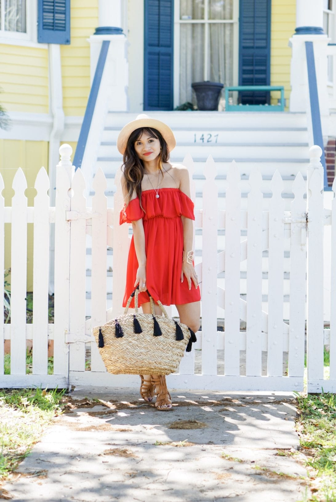 galveston, white picket fence, red beach dress, summer look, summer outfit