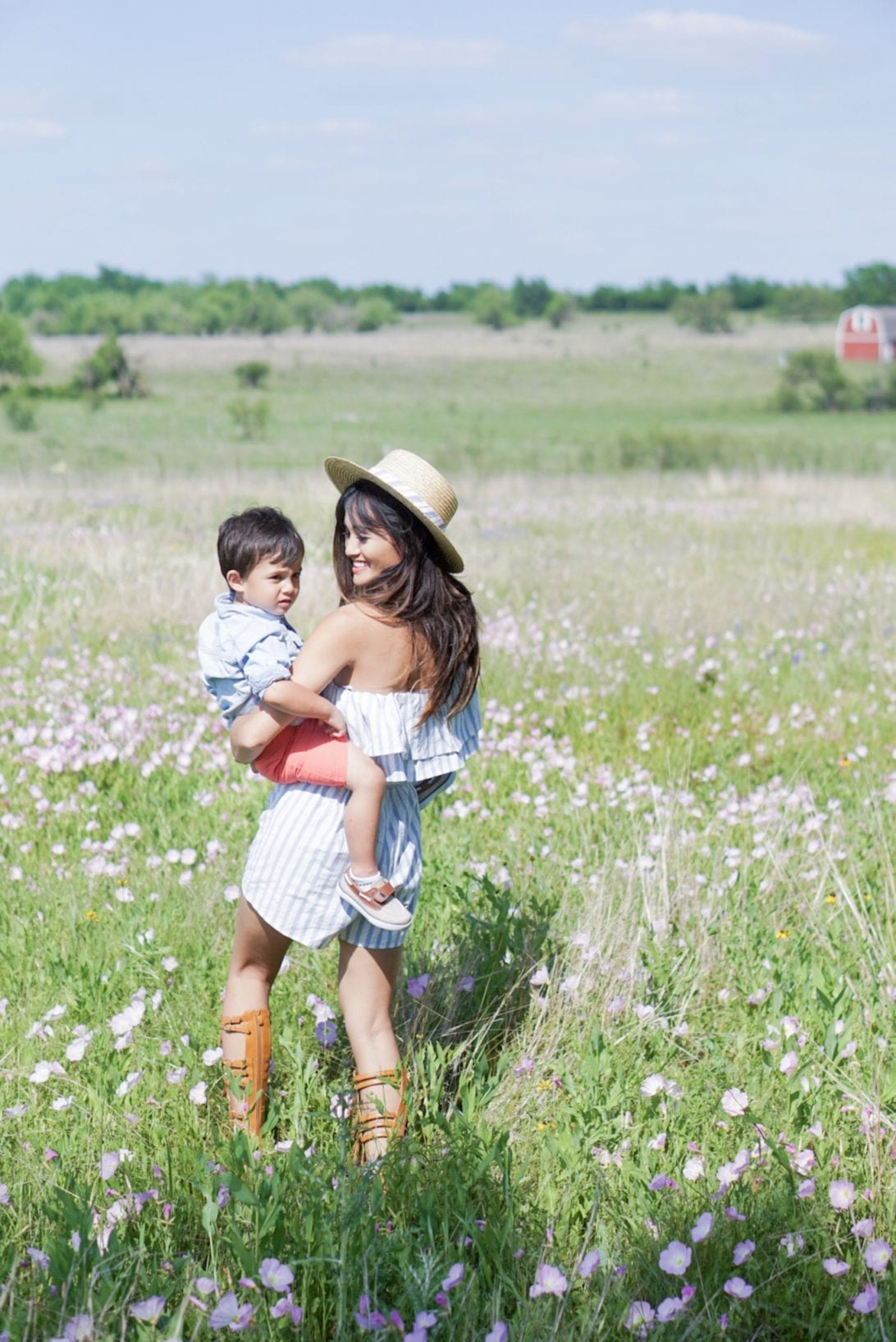 bluebonnet festival, chappell hill, striped off the shoulder romper, boat hat, mommy and me