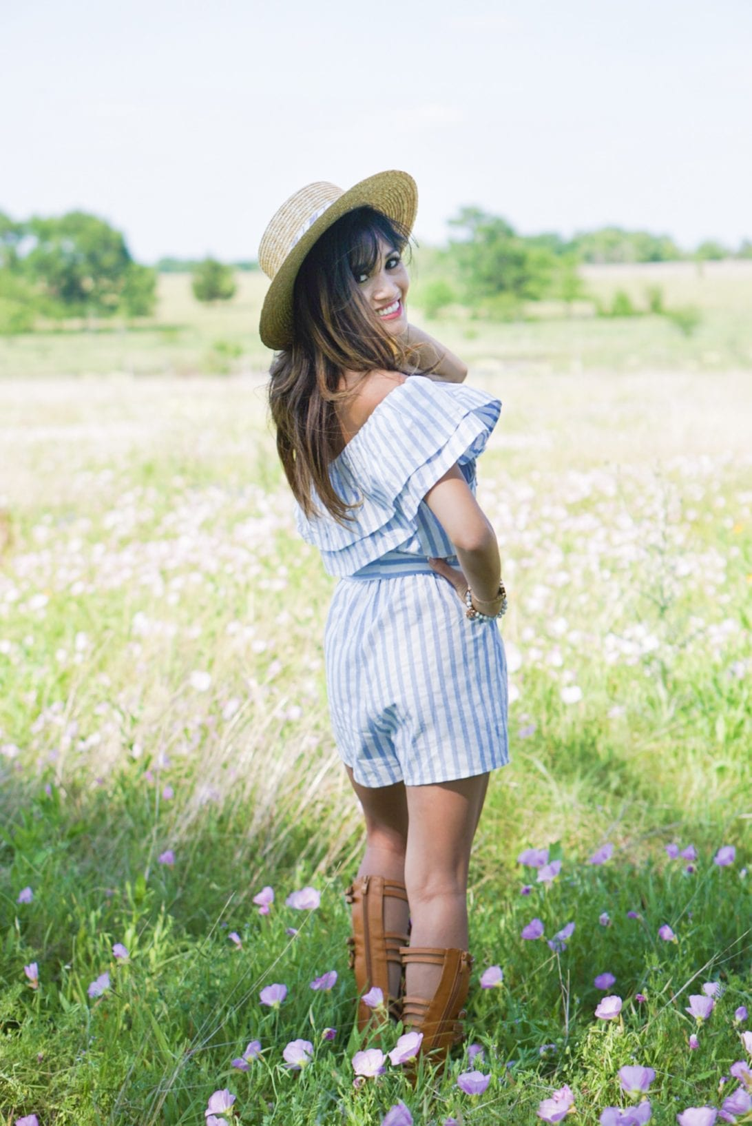 one shoulder romper, gladiator sandals