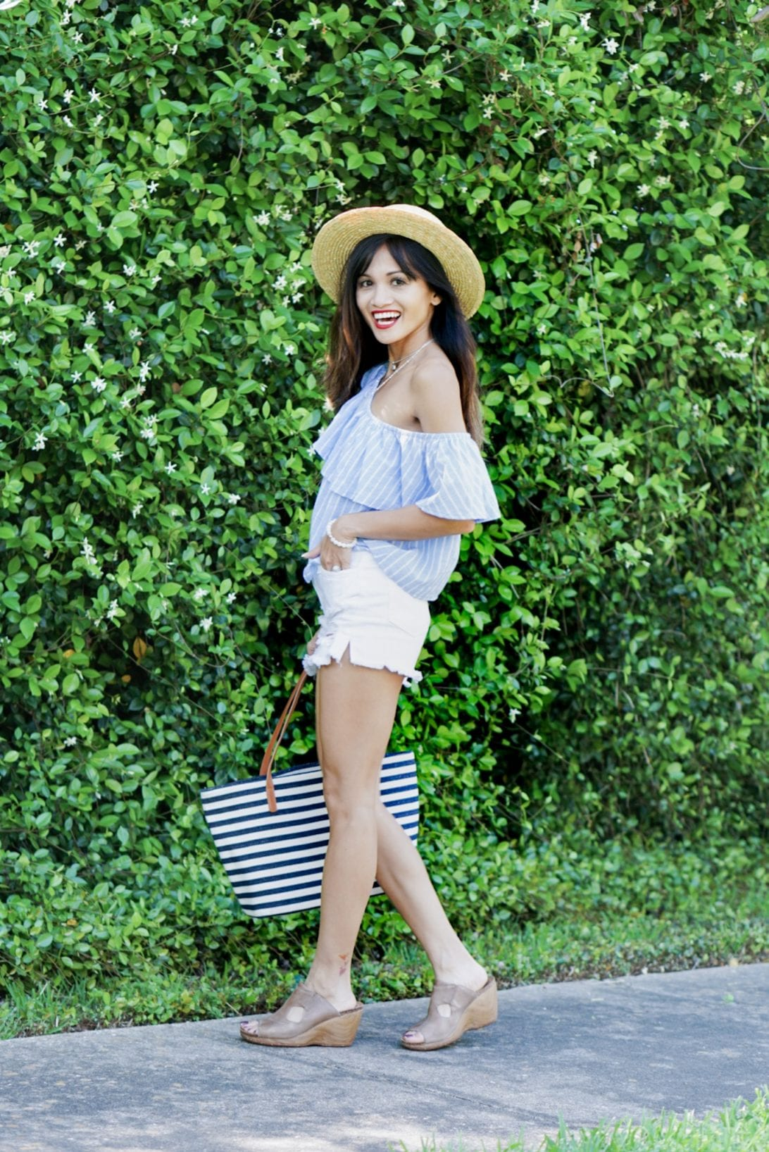 summer outfit, casual outfit, summer ootd, boat hat, off the shoulder, white denim shorts, 4Eursole, monogrammed bag