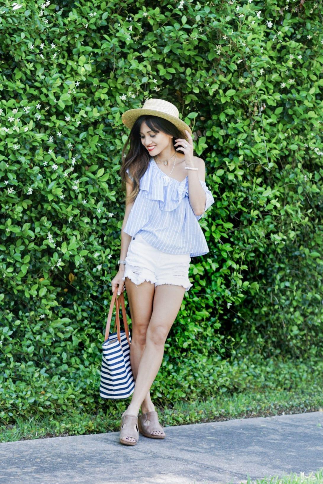 striped off the shoulder, white shorts, 4eursole, slides, summer shoes, summer trends