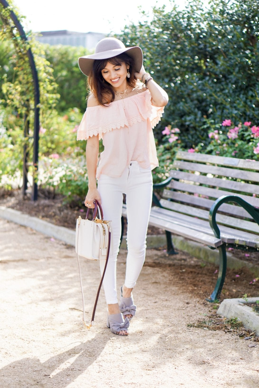 floppy hat, summer outfit, bow mules, coach bag, white jeans