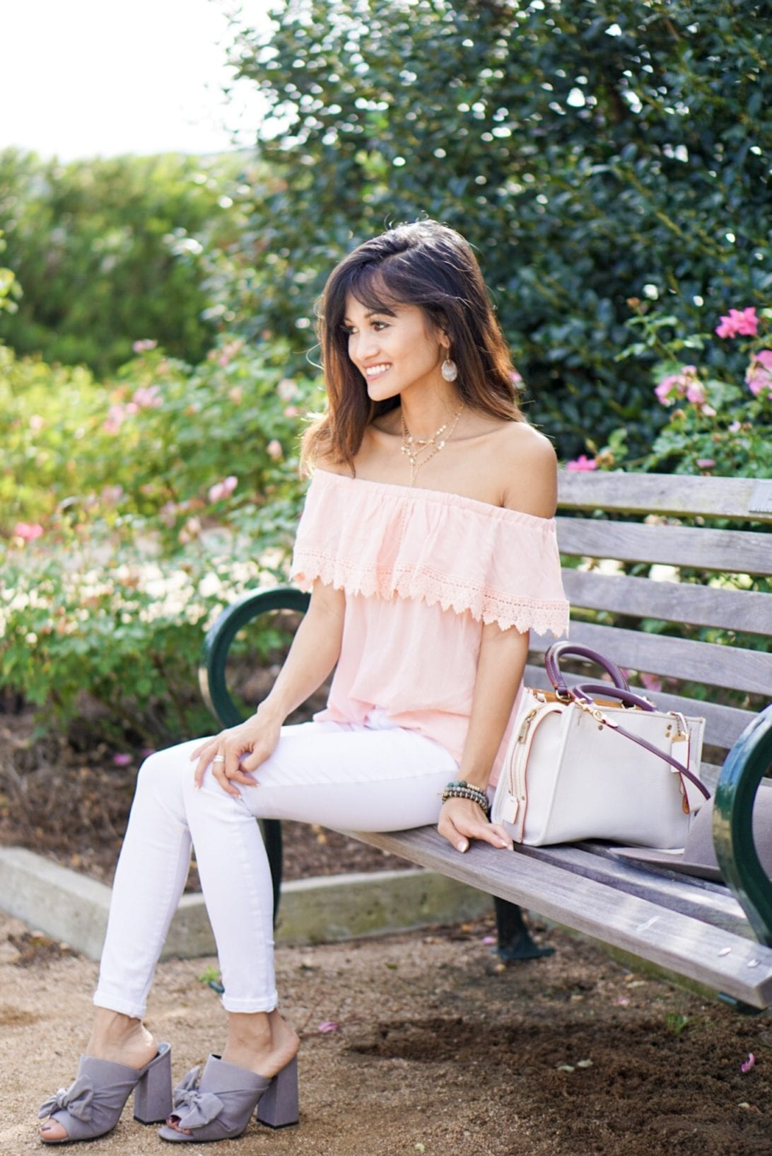 park bench, coach bag, spring collection, rogue, white jeans, skinny jeans, bow mules, asos, charming charlie