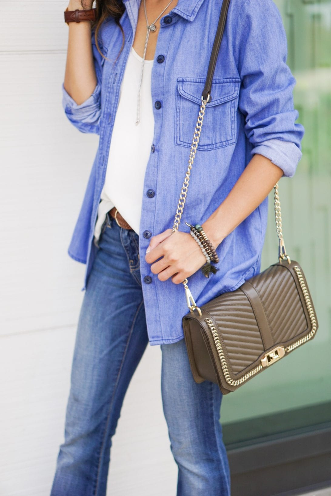 rebecca minkoff bag, old navy denim shirt