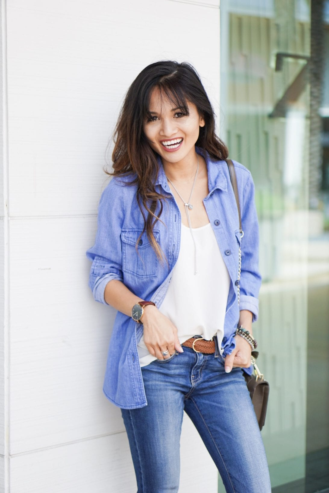 chambray shirt, how to wear denim shirt, casual denim look, casual style